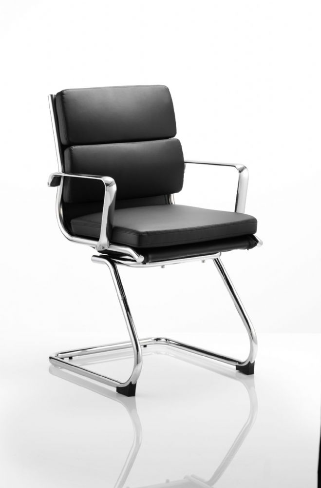 Savoy Medium Back Cantilever Chair Aluminium Armrests Black Bonded Leather